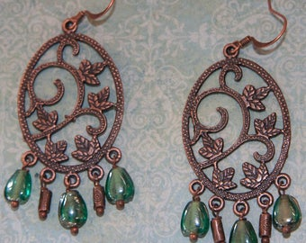 Teal and  Antique Copper Chandelier Earrings
