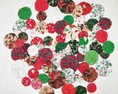 Christmas Fabric YoYos, Miniature Sizes, Crafting, Embellishments, Appliques