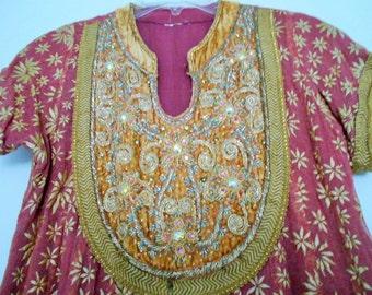 1960S GOLD STAR Silk Gauze Jewel embellished Gold & Velvet Rare Vintage Boho India Dress HiPPIE silk blend gauze jewels AmaZiNG sz Sm