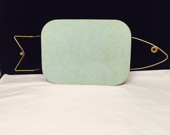 Vintage Metal Fish Serving Tray, Mid Century Modern Tray, Mint Green And Gold