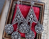 Antique Pressed Steel Chandelier Earrings, offered by RusticGypsyCreations