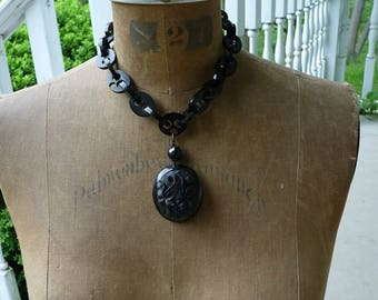 Antique Whitby Jet Mourning Necklace, A Gothic Noir Beauty, Dark Moon Mystery, by RusticGypsyCreations