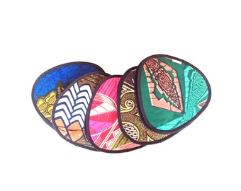 african wax print kitchen potholders - brown black orange white vlisco fabric potholders - ethnic african tribal colorful kitchen potholders