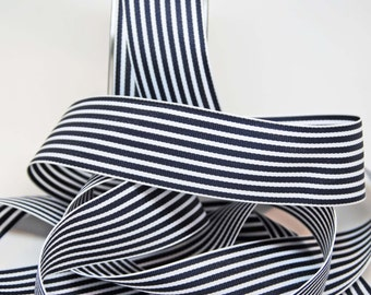 Striped Grosgrain Ribbon -- 1.5 inches -- Navy Blue White