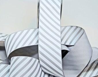 Varsity Grosgrain Stripe Ribbon -- 1 1/2 Inch -- Gray White Stripe
