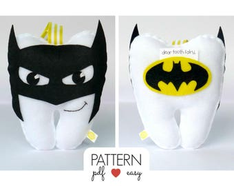 Tooth Fairy Pillow, Tooth Pillow Pattern, Felt Pattern, Handsewing Pattern, Craft Fair, Boys Tooth Cushion, Tooth Shaped