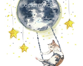 Cat Watercolor Painting PRINT - 11x14, Moon Watercolour Illustration, Calico Cat, Night Sky, Nursery Art