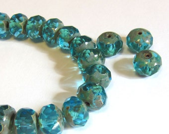 Aqua blue Czech rondelle beads, Large 10x6mm faceted glass beads, Teal blue Picasso beads, Destash jewelry supplies, Small quantity