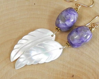 Purple Charoite, Carved Mother of Pearl Feathers and Gold Filled Earrings
