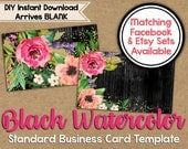 Black Watercolor Business Card Template - Digital Business Card - Standard Business Card - Watercolor Flowers - Watercolor Floral - Etsy