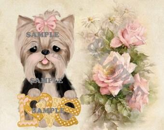 Yorkie, Love, card topper, clip art, graphic, original drawing,  digtial, download, printable