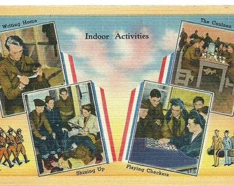 Vintage WWII U.S. Army Scenes of Camp Life Photo Postcard
