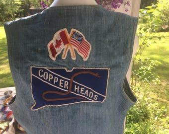Distressed Jean Vest Orange Levi's Tag Vintage Levi Vest with Copperhead Badges 2 Copperhead Badges Canadian and American Flag Badge