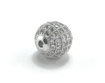 Silver Bing Ball with Cubic Zirconia