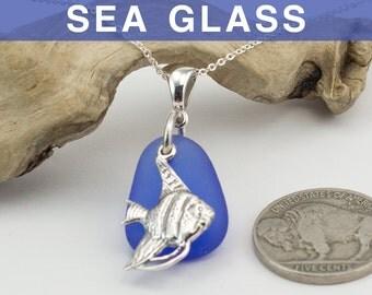 Cobalt Blue Sea Glass with Angelfish Charm