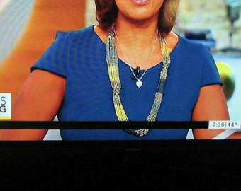 Gold Black Glass Beaded Necklace Woven Necklace Glass Beaded Necklace Seed Beads Morning Show Celebrity