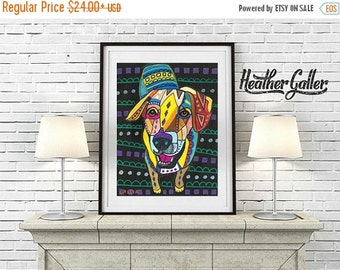 50% Off Today- Yellow Lab Art Labrador Retriever art Art Print Poster by Heather Galler (HG910)