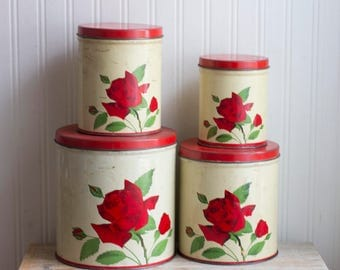 Vintage Canister Set with Red Roses, 1950's 50s Kitchen, Flower Kitchen Decor, Cottage Home