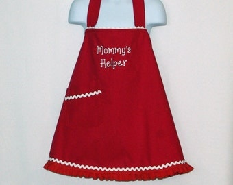 Little Girl Red Christmas Apron, Mommys Helper, Custom Gift, Personalized With Name, Valentine, No Shipping Fee, Ships TODAY AGFT 1222