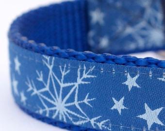 Blue Snowflake Dog Collar, Holiday Pet Collar, Winter Dog Collar, Christmas Dog Collar, Festive