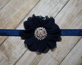 CLEARANCE/ Navy Chiffon Flower Headband/ Navy Baby Headband/ Girls Hair Accessories/ Baby Hair Accessories/ Sale Headband/ Navy Headband