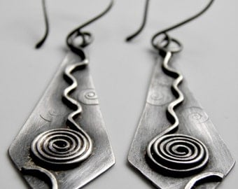 Sterling Silver Earrings Long Drops Stylish Original Design OOAK Diamond Kite Shape - Oxidized Big Handmade and Funky Swirl Design