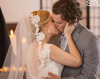 Wedding veil - Unique Cathedral Veil with Scalloped French Alencon Lace