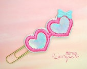 Heart Glasses Planner Clip Paperclip in hot pink