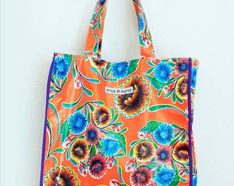 Daniela Mexican Beach Bag in Oil Cloth with Embroidery FREE