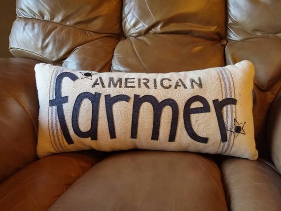 American farmer accent pillow from vintage canvas
