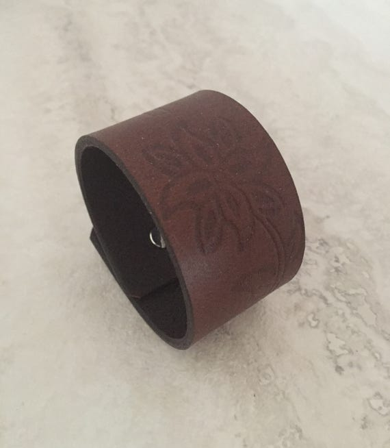 Handmade Brown Leather Bracelet, Women's Leather Cuff with Design (size 6.5 inches)