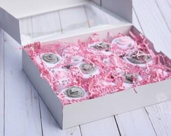 Baby girl washcloths, Baby mini cupcake box, Baby girl bath gift, Baby shower gift, baby gift set, welcome baby gift, cupcake gift set