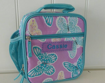 Lunch Bag With Monogram Classic Style Pottery Barn -- Lavender/Aqua Butterfly