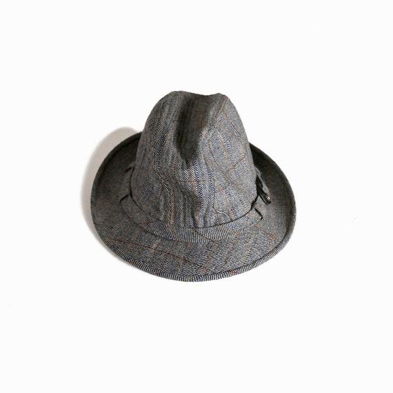 Vintage Gray Tweed Fedora Hat / Country Gentleman Men's Hat - size 7 1/2