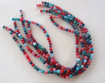"""Multi Colored Striped Agate, Round Beads, Gemstone Beads, Jewelry Making Beads, Necklace Design, Red Green Blue, Agate, 15"""" Strand 6mm"""