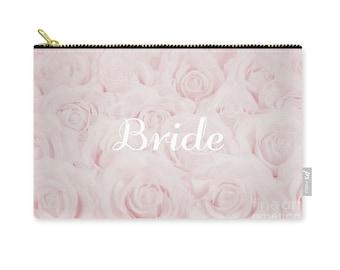 """Blush Pink """"Bride"""" Makeup Bag, Clutch, Pouch, floral print, gift for bride bridal gift, bridal shower gift, destination wedding- 1610PKBRIDE"""