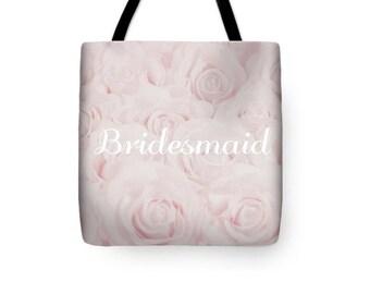 """Blush Pink """"Bridesmaid"""" Tote Bag, Shopping Bag, floral print, gift for bridesmaid, bridesmaid gift, destination wedding- 1610PKBRIDESMAID"""