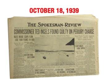 "October 18, 1939 Newspaper - Spokane, WA Spokesman-Review ""World War Two News"""