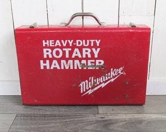 Red Vintage Milwaukee Metal Toolbox - Rotary Hammer Box, Utility Box