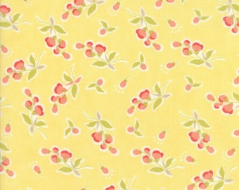Moda Coney Island Fabric Yellow Fig Tree Fabric Medium Yellow Floral Quilting Fabric By The 1/2 Yard