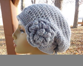 Crocheted  Slightly Slouchy Beanie in Grey Sparkle Yarn with Detachable Flower