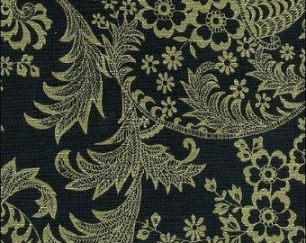 Round Toile Gold on Black Oilcloth Tablecloth