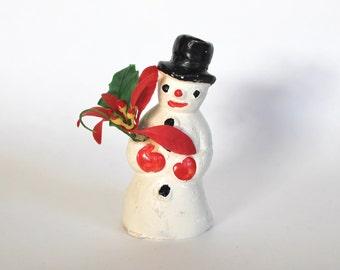 Vintage 1950's Christmas Plaster Snowman Figurine