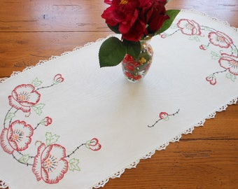 Hand Embroidered Vintage Dresser Scarf Or Small Table Runner Dresser Doily Table Doily