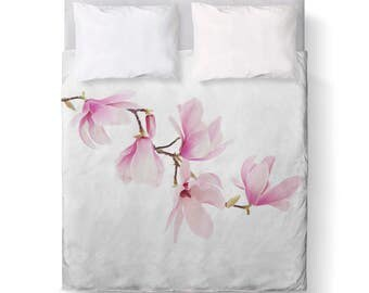 Beautiful Pink White Magnolia Floral Duvet Cover/ Bedding/ Comforter Cover/ Twin, Queen, King/ Made To Order/ Magnolia, Pink White, Floral