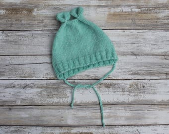 Little Bear Baby Hat. Hand Knit Baby Bear Hat. Baby Boy Knit Bonnet. Light Blue Baby Hat. Aqua Knitted Baby Hat with Ties.