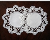 ON SALE Vintage Linen Handmade Lace Doilies Mats Pair