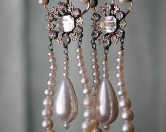 Pearl Fleur Hoops--Vintage Faux Pearl Hoop Rhinestone Fleur De Lis Pearl Briolette EARRINGS