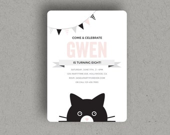 CUSTOM PRINTABLE CAT Birthday Party Invitation, with a modern edge, for cat & kitten lovers, and kids that love cats!