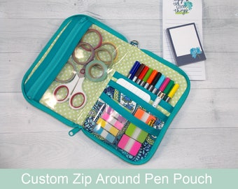 Custom Pen Pouch • Planner Pouch • Planner Accessory • Quilted • Zip Around Pen Case • CUSTOM • You Choose Your Fabric • Life Planner